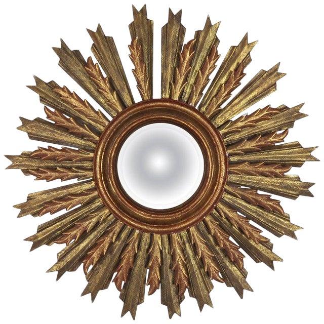 Spanish Carved Sunburst Mirror, Circa 1930 For Sale