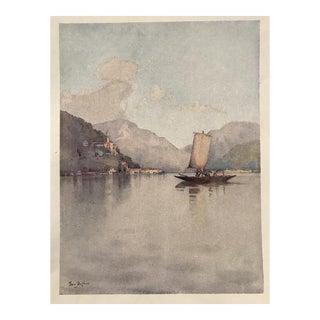 1905 Original Italian Print - Italian Travel Colour Plate - Morcote, Lago DI Lugano For Sale