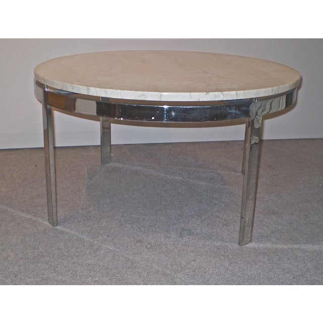 Chrome Base Stone Top Coffee/Side Table - Image 2 of 5