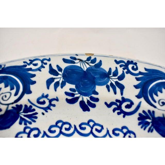 Asian 18th C. Dutch Delft Cobalt Blue Floral Faïence Charger For Sale - Image 3 of 11