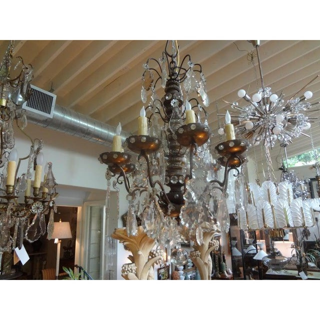 French Antique French Maison Baguès Attributed Beaded and Crystal Chandelier For Sale - Image 3 of 13