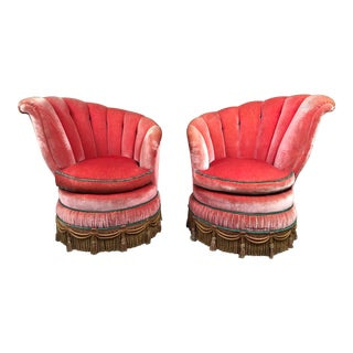 1930's Art Deco Shell-Shaped Slipper Chairs - a Pair For Sale