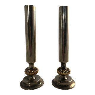 Vintage Silver and Brass Art Deco Candle Stick Holders - a Pair For Sale