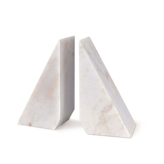 Not Yet Made - Made To Order Othello Marble Bookends in White - A Pair For Sale - Image 5 of 5