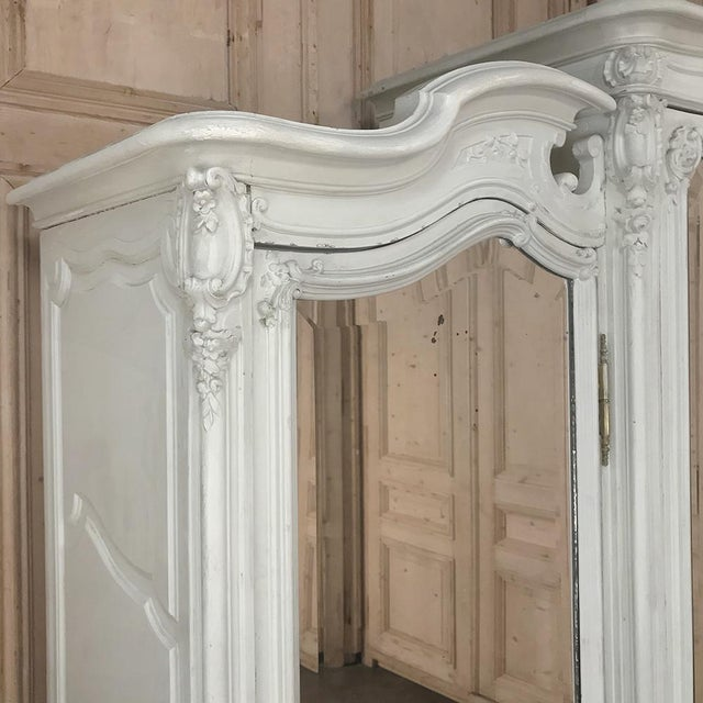 Wood 19th Century French Louis XV Painted Triple Armoire For Sale - Image 7 of 13