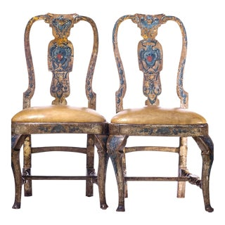 18th C. Italian Silver-Leafed and Paint Decorated Side Chairs- a Pair For Sale