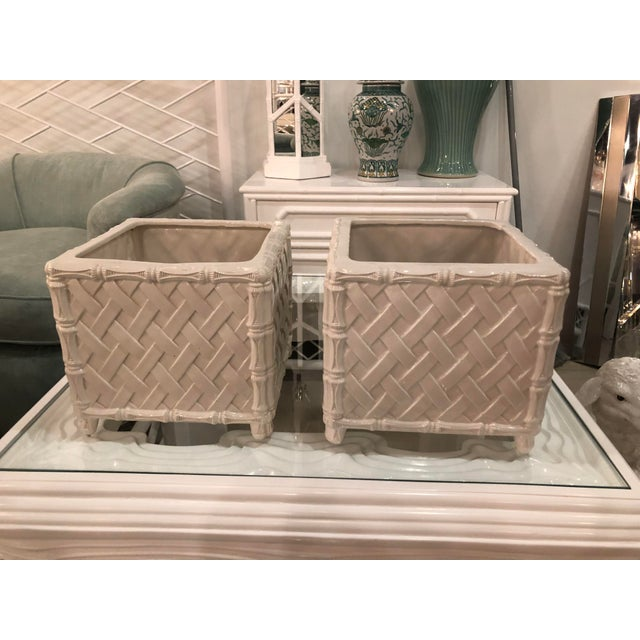 1970s Vintage Hollywood Regency Nora Fenton White Faux Bamboo Ceramic Italian Planters Pots -A Pair For Sale - Image 5 of 11