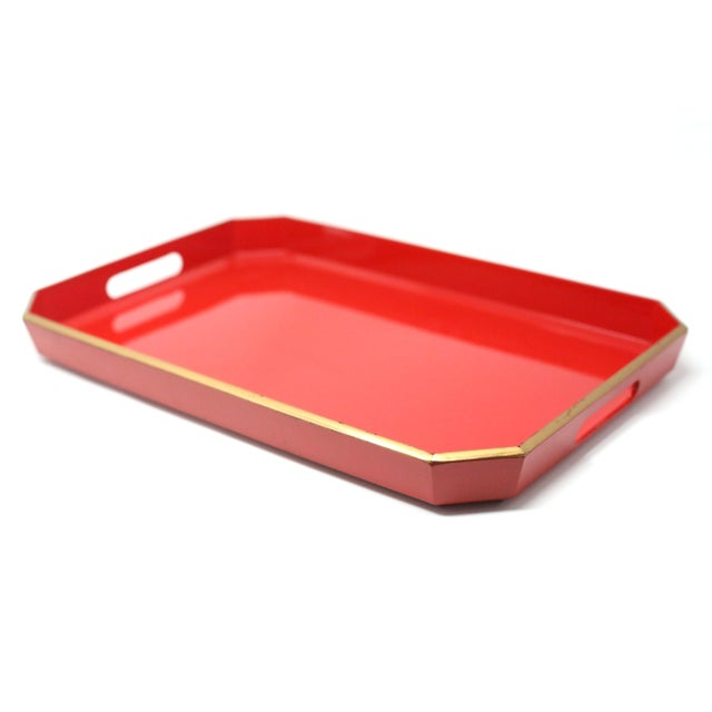 Plastic Vintage Japanese Red Lacquered Tray For Sale - Image 7 of 10