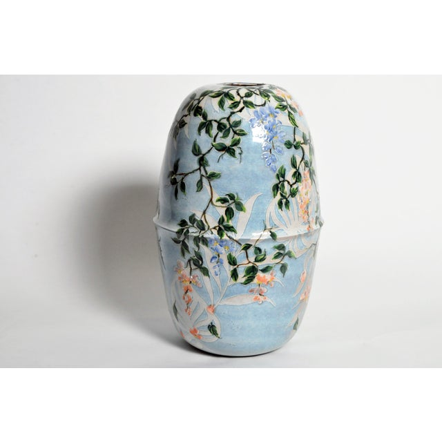 2010s Asian Modern Hand Painted Ceramic Vase For Sale - Image 5 of 6