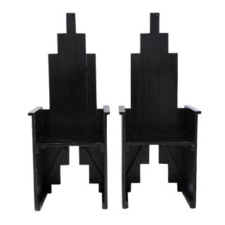 Black Sculptural Wooden Chairs - A Pair For Sale