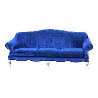 Royal Blue Velvet Reupholstered Sofa For Sale