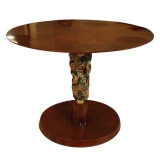 Center Table in Mahogany with Ceramic Work by Pietro Melandri, Italy circa 1950