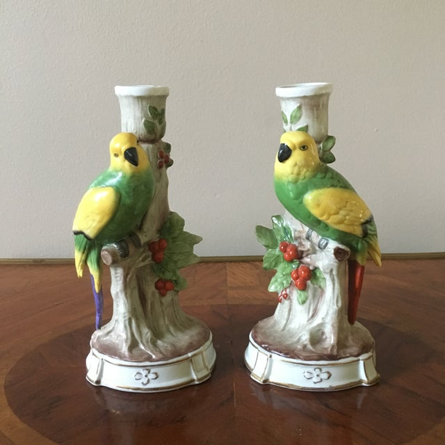 Green Vintage German Porcelain Parrot Candle Holders- a Pair For Sale - Image 8 of 8