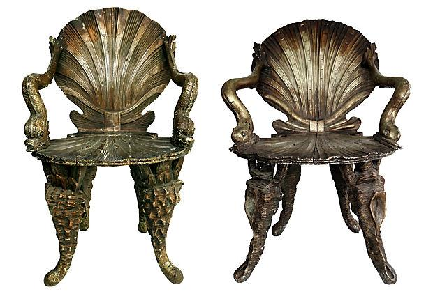 Venetian Hand Carved Grotto Chairs   Pair