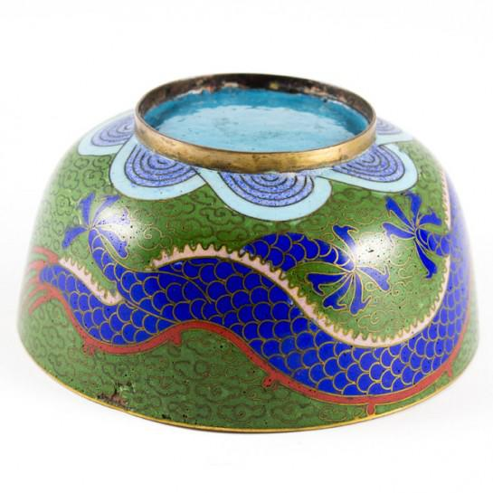 19th Century Antique Chinese Cloisonne Dragon Bowl For Sale In Houston - Image 6 of 11