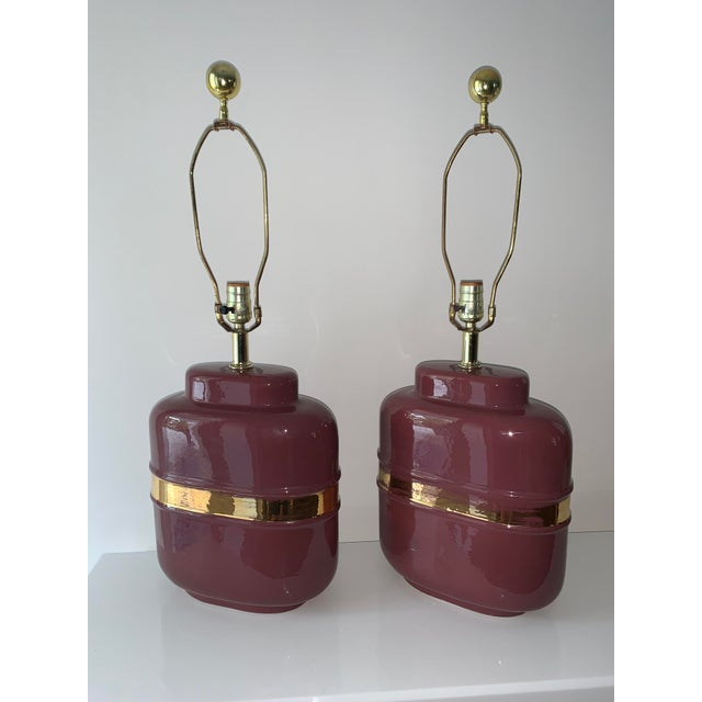 1980's Modern Abstract Form Mauve and Gold Lamps - a Pair For Sale - Image 12 of 12
