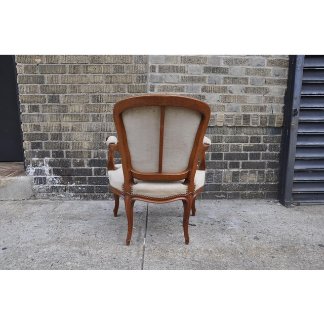 1950s Vintage French Taupe Velvet Walnut Louis XV Rococo Style Armchair Fauteuil For Sale - Image 5 of 12