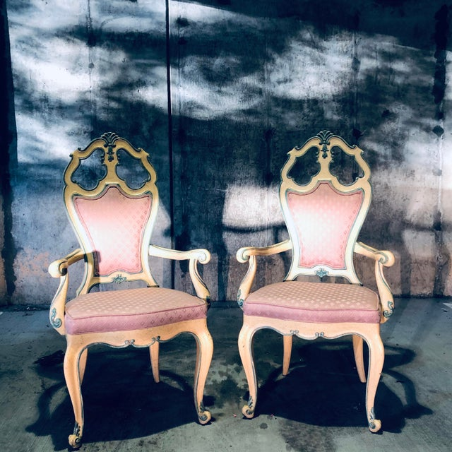 Pastel Victorian Style Era Gothic Chairs- a Pair For Sale - Image 7 of 9