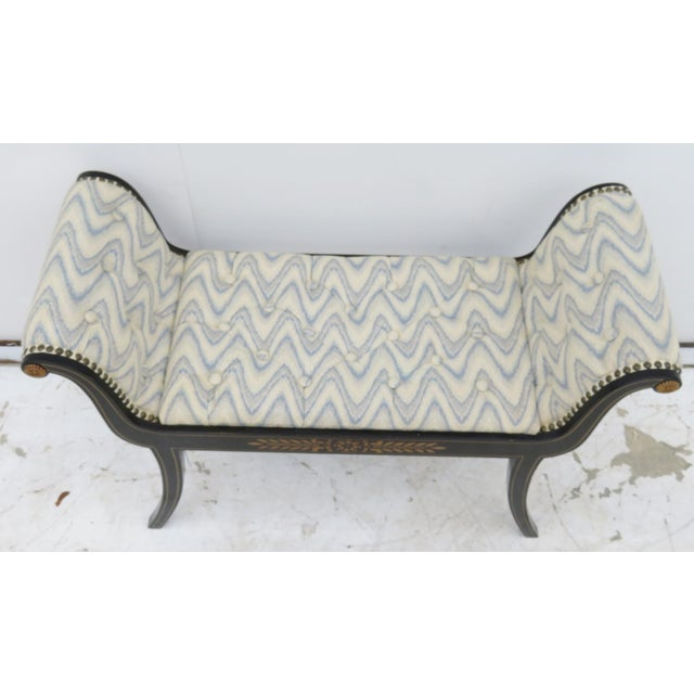 Regency Black Lacquer Tufted Bench - Image 3 of 5