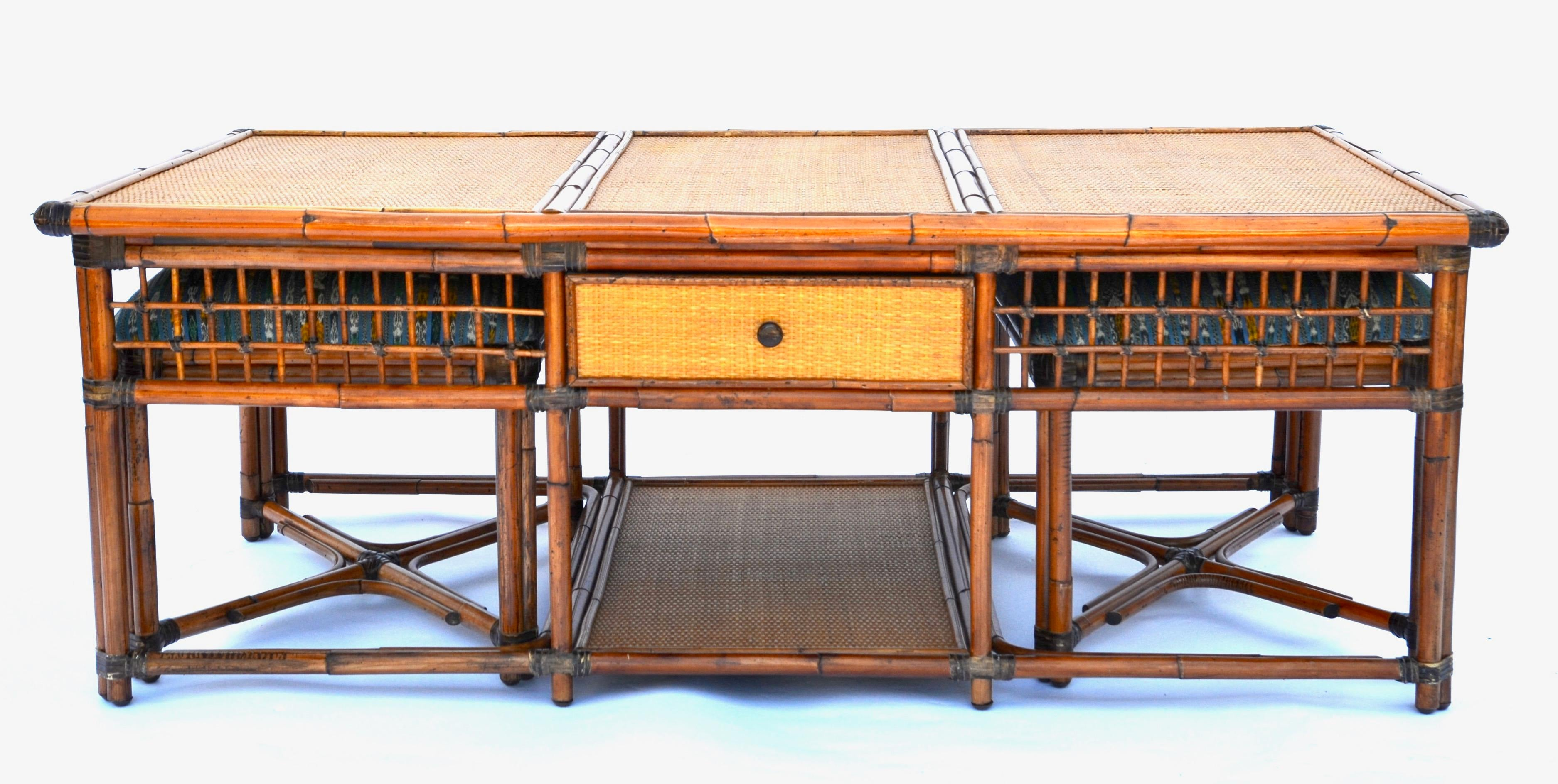 Vintage Palecek SF Rattan Bamboo Coffee Table With Hidden Stools   Image 2  Of 8