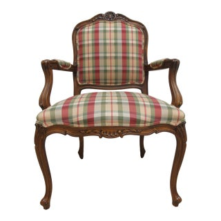 Ethan Allen French Country Carved Lounge Arm Chair For Sale