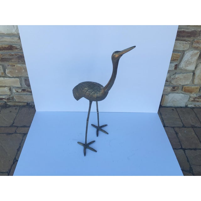 Mid Century Large Brass Cranes - Pair - Image 3 of 4
