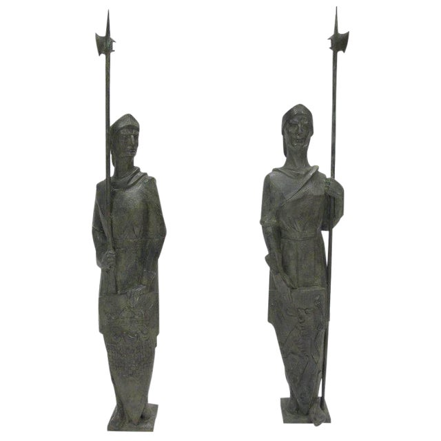 French Life-Size Bronze Statues Sculpture Middle Ages Knight in Armor, a Pair - Image 1 of 11