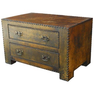 Diminutive Leather Clad Tabletop Chest of Drawers or Trunk