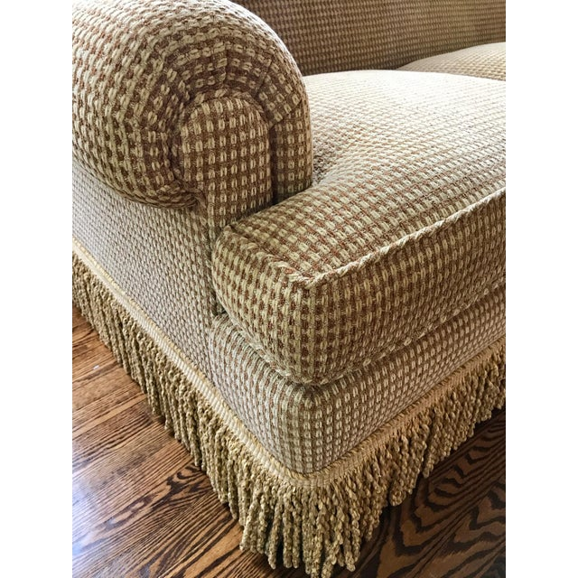 Brunschwig & Fils Brunschwig & Fils Oxford Gold Chenille Fabric Sofa & Loveseat - A Pair For Sale - Image 4 of 13