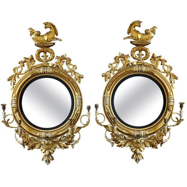 Pair of 19th Century Regency Convex Mirror Girandoles With Hippocampus For Sale In Boston - Image 6 of 6