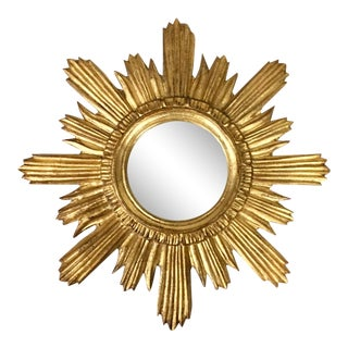 Italian Florentine Sunburst Giltwood Mirror For Sale