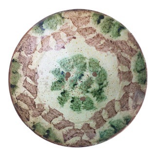 Moroccan Tamegroute Glaze Green Floret Motif Couscous Bowl For Sale