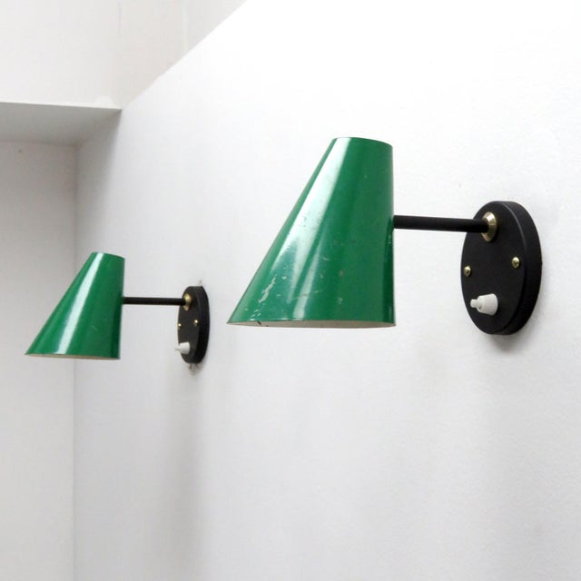 Green Jacques Biny Wall Lamps, 1950 - a Pair For Sale In Los Angeles - Image 6 of 9