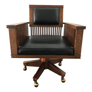 Mission Style Oak & Leather Desk Chair