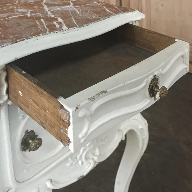 19th Century French Louis XV Painted Nightstand For Sale - Image 11 of 13
