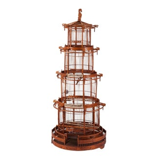 Monumental Antique Chinese Hand Carved Bone, Bamboo & Wood Pagoda Birdcage For Sale