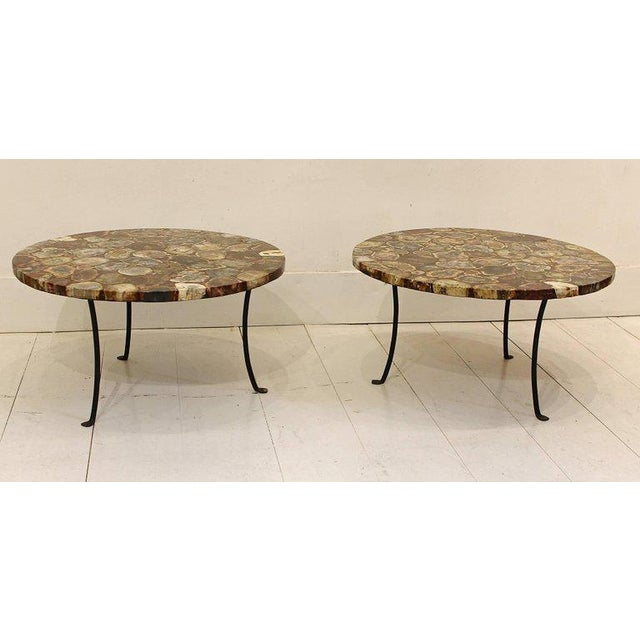 Art Deco Set of Four Petrified Wood and Wrought Iron Coffee Tables For Sale - Image 3 of 10