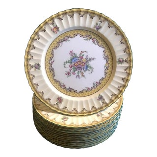 English Floral Service Dinner Plates by Royal Worcester - Set of 12 For Sale