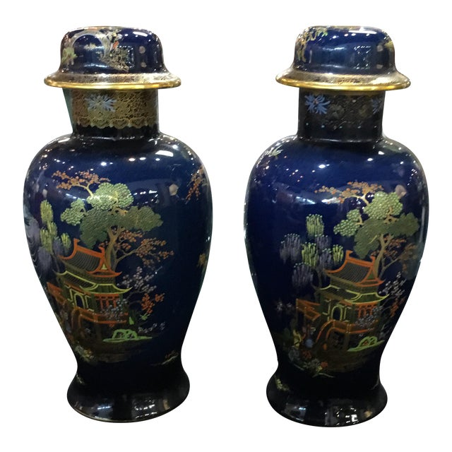 Antique Carleton Ware Urns With Foo Dog Finials - A Pair For Sale
