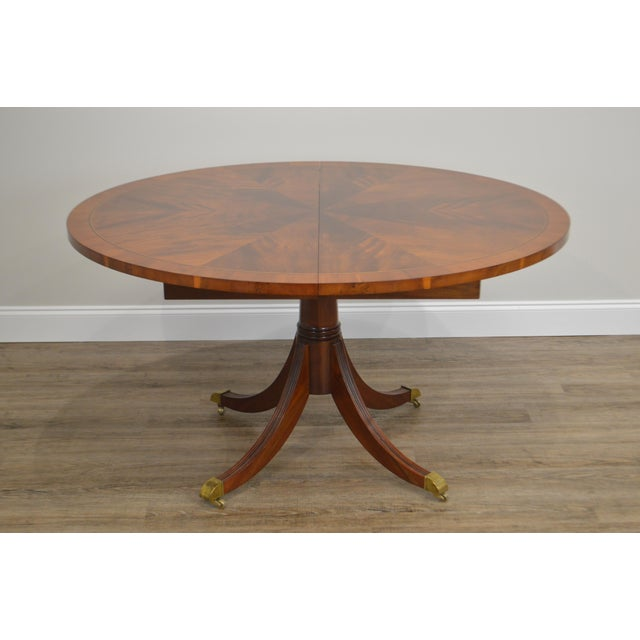 Hekman Furniture Hekman Flame Mahogany Yew Wood Banded Single Pedestal Dining Table For Sale - Image 4 of 13