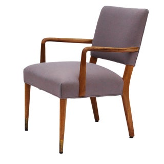 Mid-Century Sculpted Walnut Frame Armchair by Stow & Davis For Sale