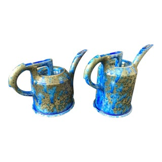 1990s Shabby Chic Anne Hirondelle Ceramic Art Watering Pots - a Pair For Sale