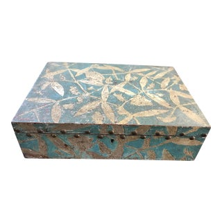 Vintage Mid Century Italian Hand Painted Teal and Silver Leaf Gilt Renaissance Lidded Wood Box For Sale