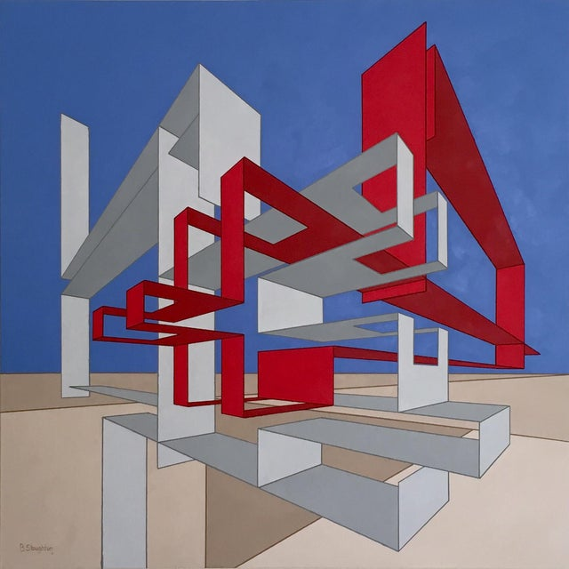 Architectural Modern Red, Blue & Tan Painting For Sale