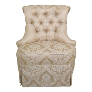 21st Century Vintage Karges Damask Silk Upholstered Boudoir Chair For Sale