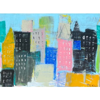 """""""Summer in the City"""" Contemporary Abstract Cityscape Acrylic Painting by Sarah Trundle For Sale"""