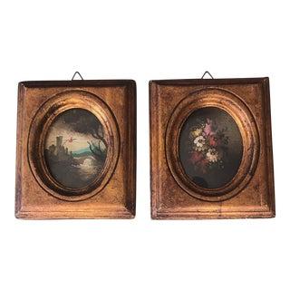 Vintage Original Italian Miniature Mid Century Landscape &Still Life Oval Paintings Original Frames-Pair For Sale
