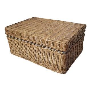 Late 20th Century Wicker Storage Box For Sale