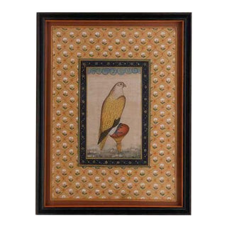 Vintage Indian Hand-Painted Falcon Surrounded by Tulips, Framed For Sale