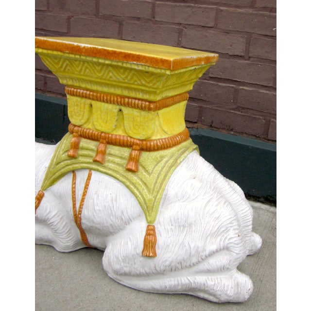 1970s 1970s Vintage Italian Majolica Glazed Terra Cotta Ceramic White and Yellow Hand Painted Camel Statue Garden Seat For Sale - Image 5 of 11